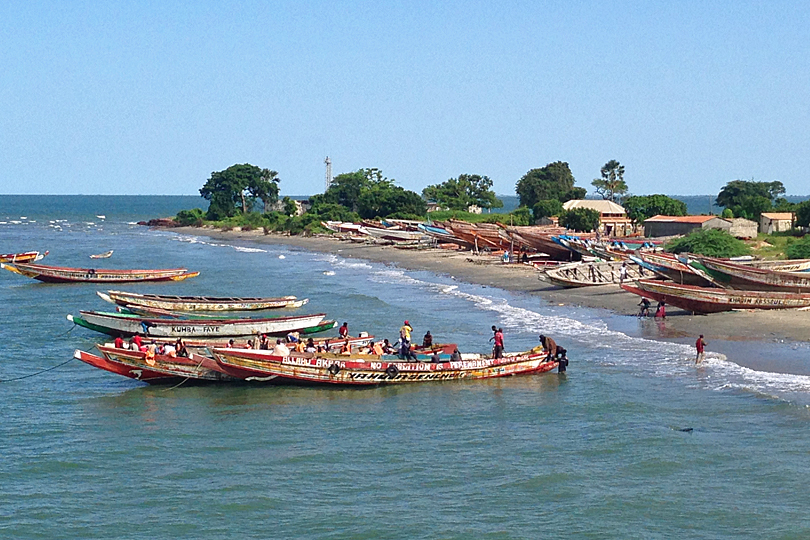 Pirogues at Barra, Gambia