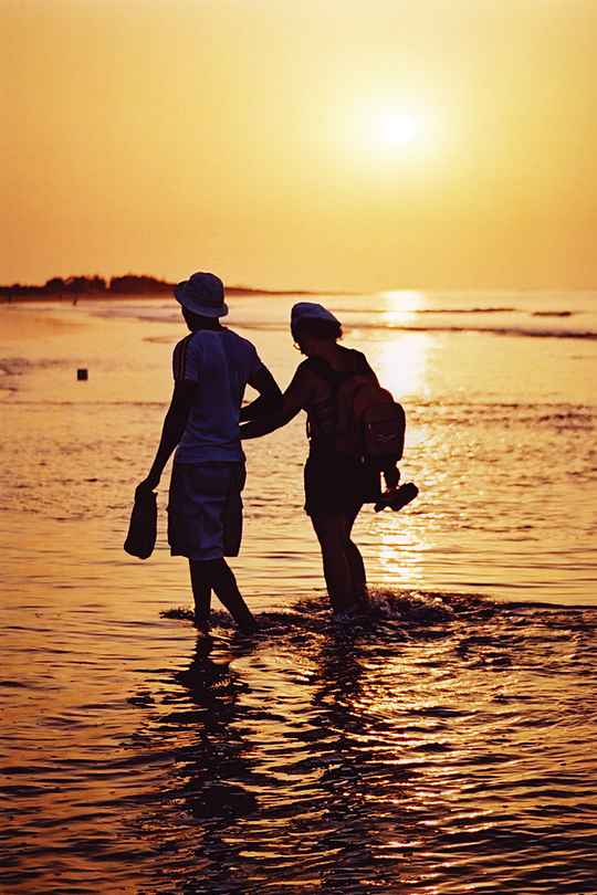 Sunset walk on Kotu Beach, Gambia